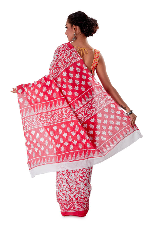 Red-base-block-printed-mulmul-designer-saree-SNML1002-4