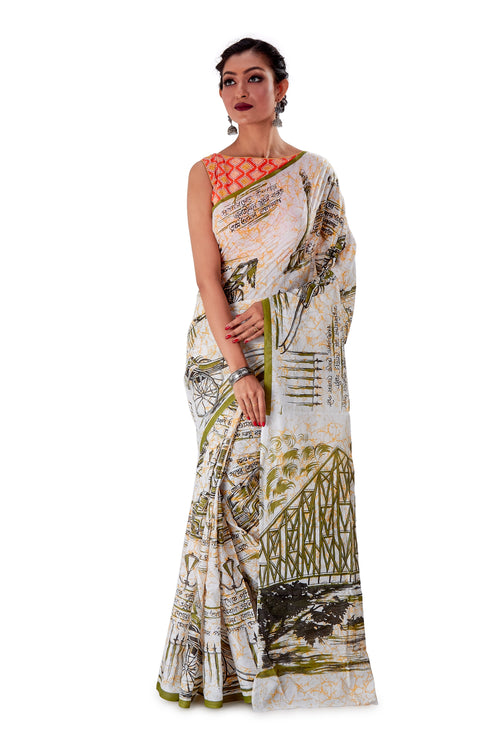 White-base-block-printed-mulmul-designer-saree-SNML1003-1