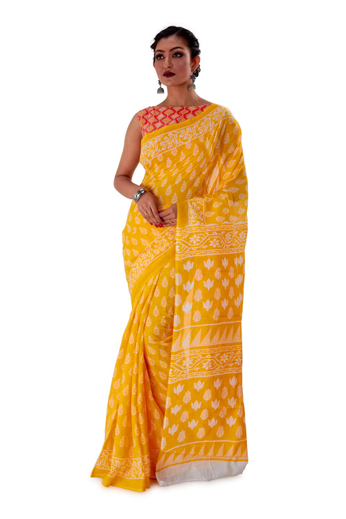 Yellow-base-block-printed-mulmul-designer-saree-SNML1004-2