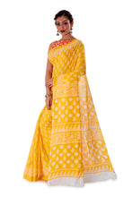 Yellow-base-block-printed-mulmul-designer-saree-SNML1004-3