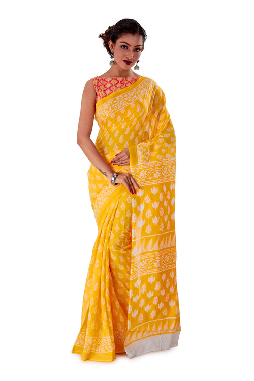 Yellow-base-block-printed-mulmul-designer-saree-SNML1004-1