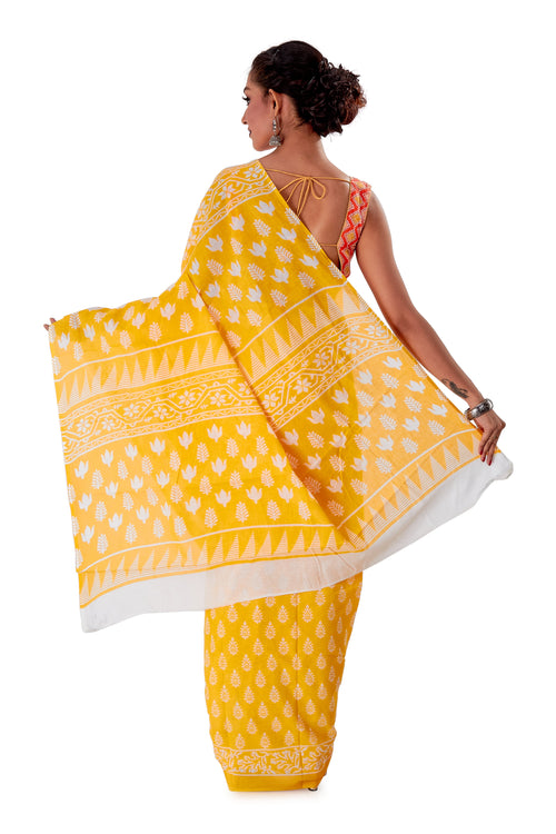 Yellow-base-block-printed-mulmul-designer-saree-SNML1004-4