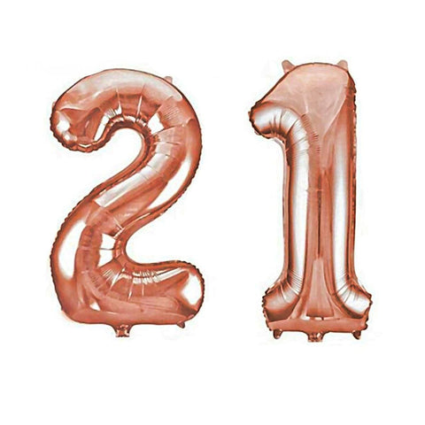 21St Birthday Number Balloons In Rose Gold-Balloons-HappyBirthdayGirl