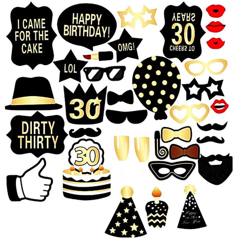 30th Birthday Party Deluxe Photo Booth Props Set-PHOTO BOOTH PROPS-HappyBirthdayGirl