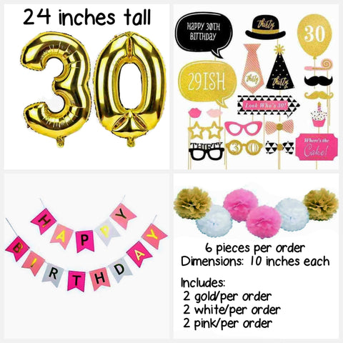 30th Birthday Pink Party Theme Box-Party Supplies Box-HappyBirthdayGirl