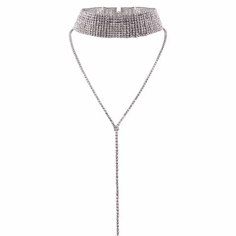 2-in-1 Layered Silver Choker Necklace