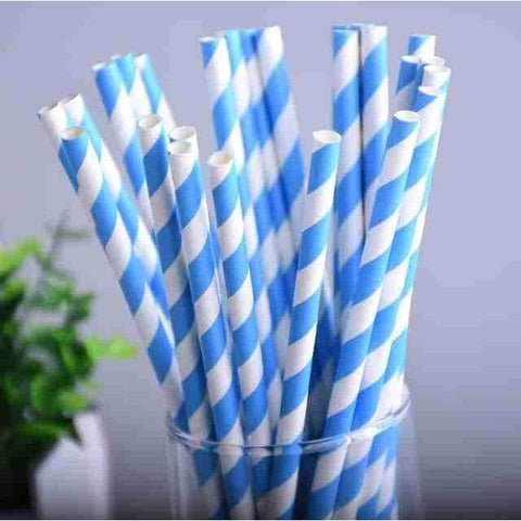 Blue Striped + Printed Plastic Party Straws-Straws-HappyBirthdayGirl