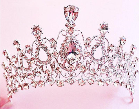 Crystal Rhinestone Hair Jewelry Silver Plated Bridal Tiara Crown Wedding Hair Accessories Gorgeous Bride Princess Headwear-HappyBirthdayGirl