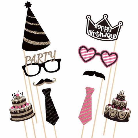 DIY Happy Birthday Girl Photo Booth Props Deluxe Set-PHOTO BOOTH PROPS-HappyBirthdayGirl