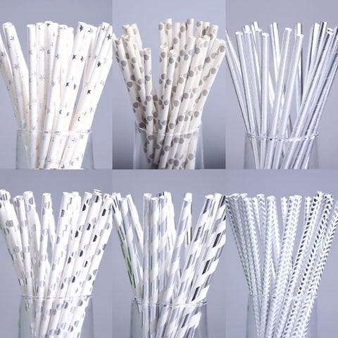 Dot + Stripe Silver Metallic Printed Paper Straws-Straws-HappyBirthdayGirl