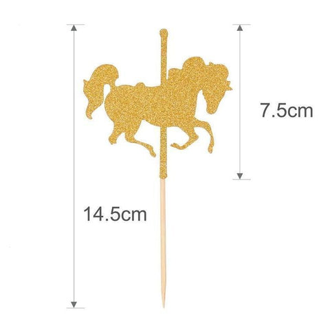 Glitter Gold Unicorn Cake Toppers-CAKE TOPPER-HappyBirthdayGirl
