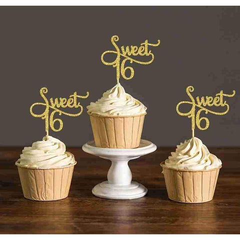 Glitter Sweet 16 Birthday Cake Toppers-Cupcake Topper-HappyBirthdayGirl