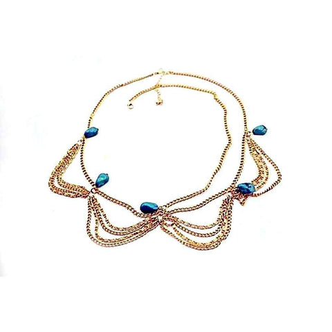 Gold Chain+ Turquoise Jewelry Headpiece-Tiara-HappyBirthdayGirl