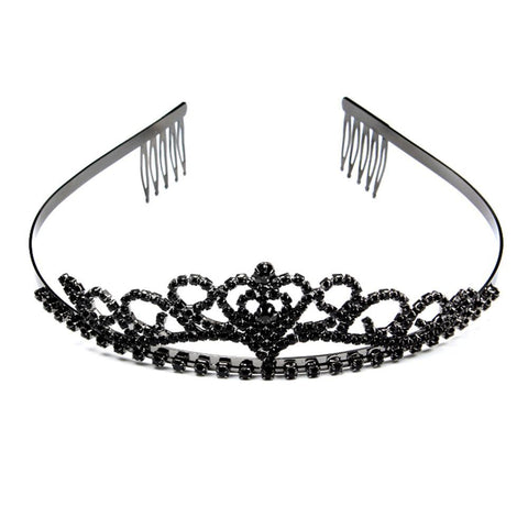 """Halle"" Black Rhinestone Princess Crown-Tiara-HappyBirthdayGirl"