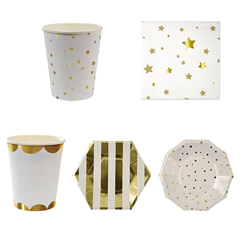 Gold Metallic Paper Cups, Party Plates & Napkins Set