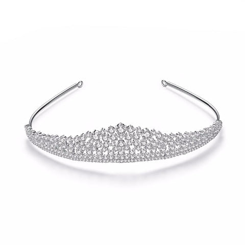 """Lorna"" Clear Crystal CZ Tiara Crown"