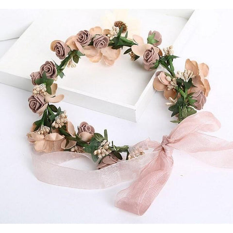 Romantic Fabric Floral Crown-HAIR ACCESSORIES-HappyBirthdayGirl