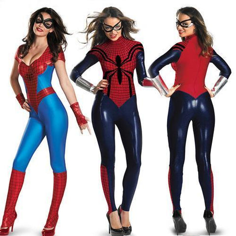 Womens Superheroes Group Costumes: Spiderwoman + Superwoman-HappyBirthdayGirl