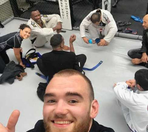 Chaim and his friends at BJJ practice