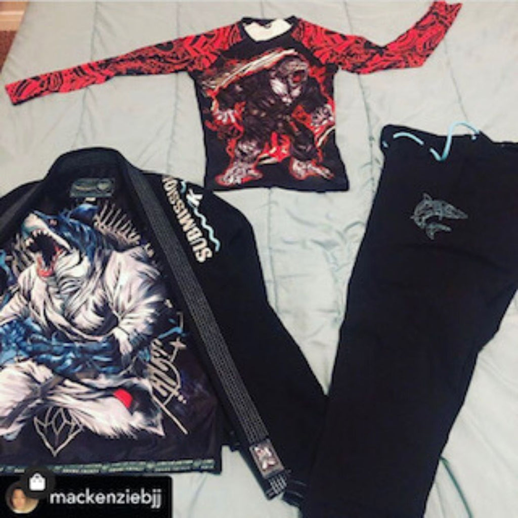 Submission Shark Black BJJ GI and Red MMA Rash Guard Top