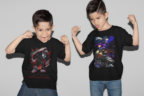 Two Boys Yelling in Martial Arts T-Shirts