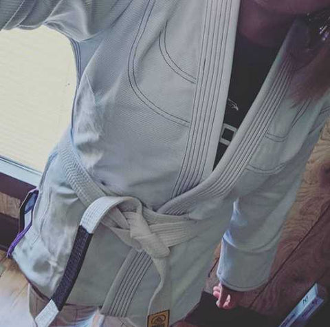Casee In A White BJJ Gi