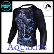 Aquarius Rashguard (Long Sleeve) | Submission Shark's Fitness and MMA Apparel | Front Left