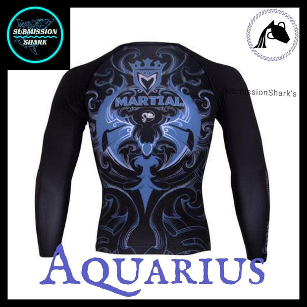 Aquarius Rashguard (Long Sleeve) | Submission Shark's Fitness and MMA Apparel | Back