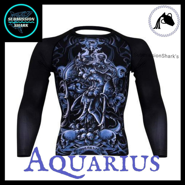 Aquarius Rashguard (Long Sleeve) | Submission Shark's Fitness and MMA Apparel | Front