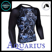 Aquarius Rashguard (Long Sleeve) | Submission Shark's Fitness and MMA Apparel | Front Right