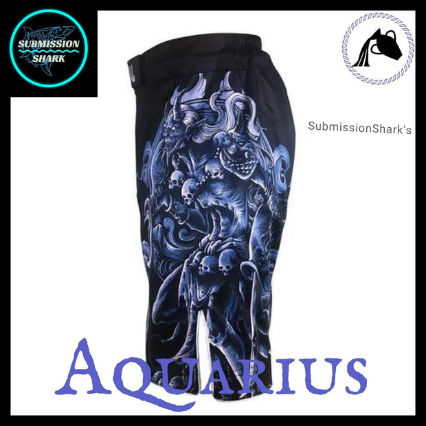 Aquarius MMA Fight Shorts | Submission Shark's Fitness and Nogi Jiu Jitsu Apparel | Left Side