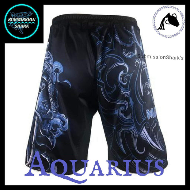 Aquarius MMA Fight Shorts | Submission Shark's Fitness and Nogi Jiu Jitsu Apparel | Back