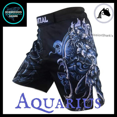 Aquarius MMA Fight Shorts | Submission Shark's Fitness and Nogi Jiu Jitsu Apparel | Front Left