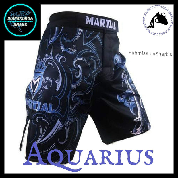 Aquarius MMA Fight Shorts | Submission Shark's Fitness and Nogi Jiu Jitsu Apparel | Front Right