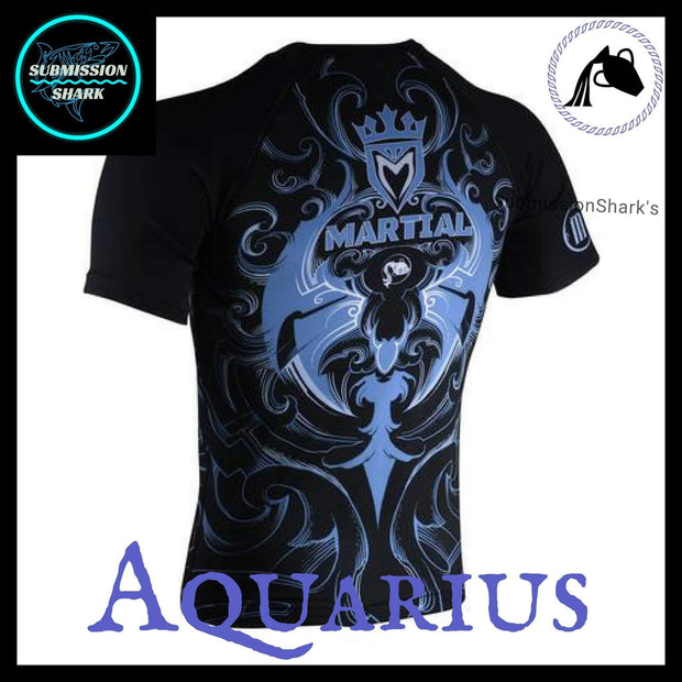 Aquarius Compression Shirt | Submission Shark's Fitness and MMA Apparel | Back Left