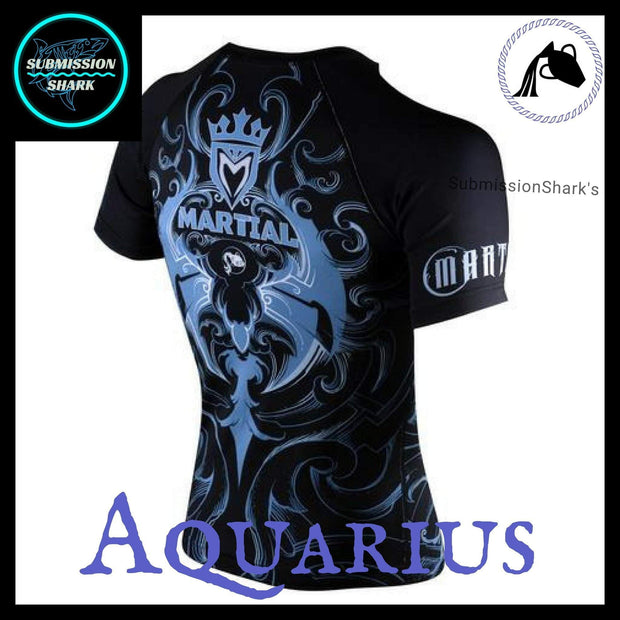 Aquarius Compression Shirt | Submission Shark's Fitness and MMA Apparel | Back RIght