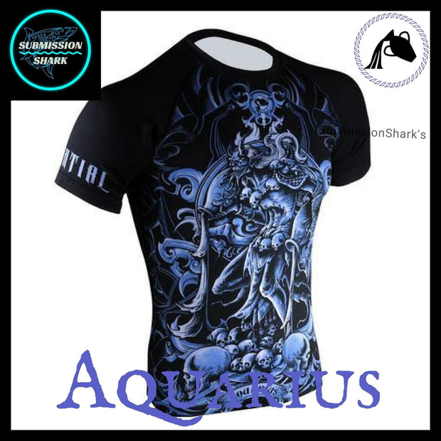 Aquarius Compression Shirt | Submission Shark's Fitness and MMA Apparel | Front Right