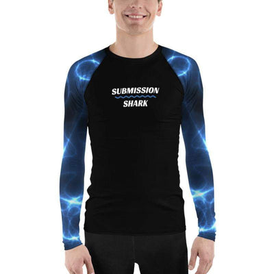 Aqua Storms ~ Men's Blue BJJ Rash Guard (Submission Shark)