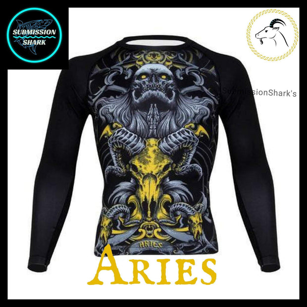 Aries Long Sleeve Compression Rashguard | Submission Shark's Dark Zodiac Series
