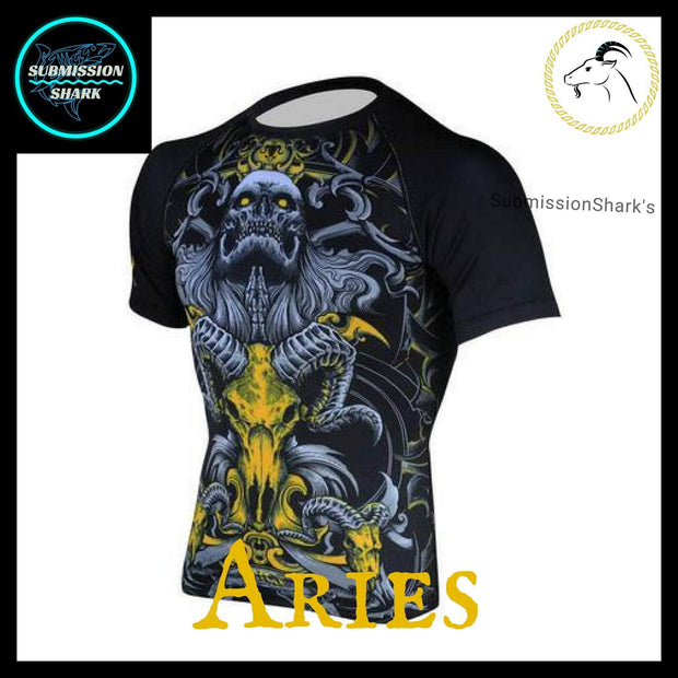 Aries Short Sleeve Compression Rashguard | Submission Shark's Dark Zodiac Series