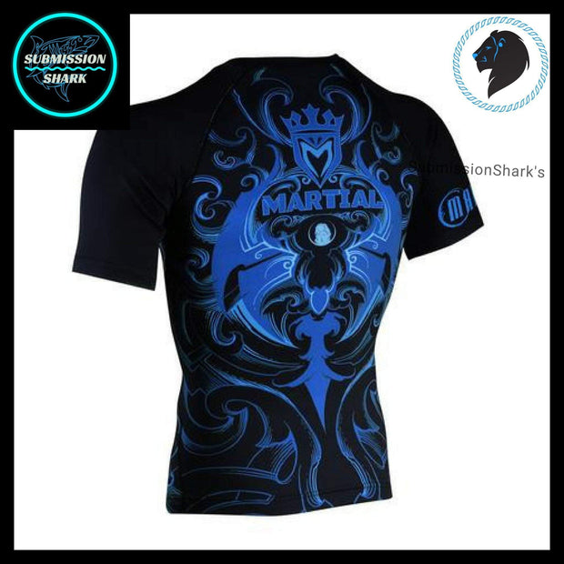 Leo Compression Shirt | Submission Shark's Fitness and MMA Apparel | Back Left