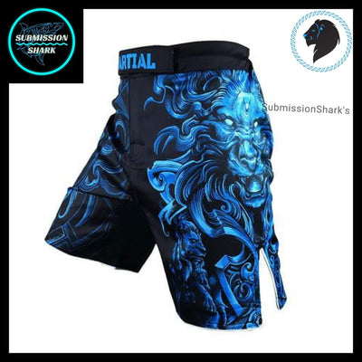 Leo MMA Fight Shorts | Submission Shark's Fitness and Nogi Jiu Jitsu Apparel | Front Left