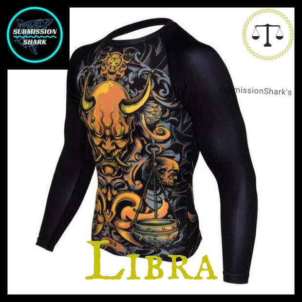 Libra Rashguard (Long Sleeve) | Submission Shark Nogi Zodiac Orange Left Front