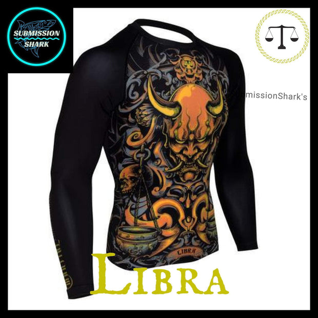 Libra Rashguard (Long Sleeve) | Submission Shark Nogi Zodiac Orange Right Side