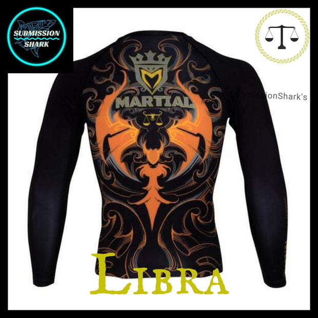 Libra Rashguard (Long Sleeve) | Submission Shark Nogi Zodiac Orange Back