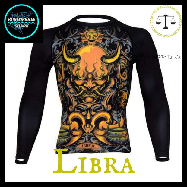 Libra Rashguard (Long Sleeve) | Submission Shark Nogi Zodiac Orange Front