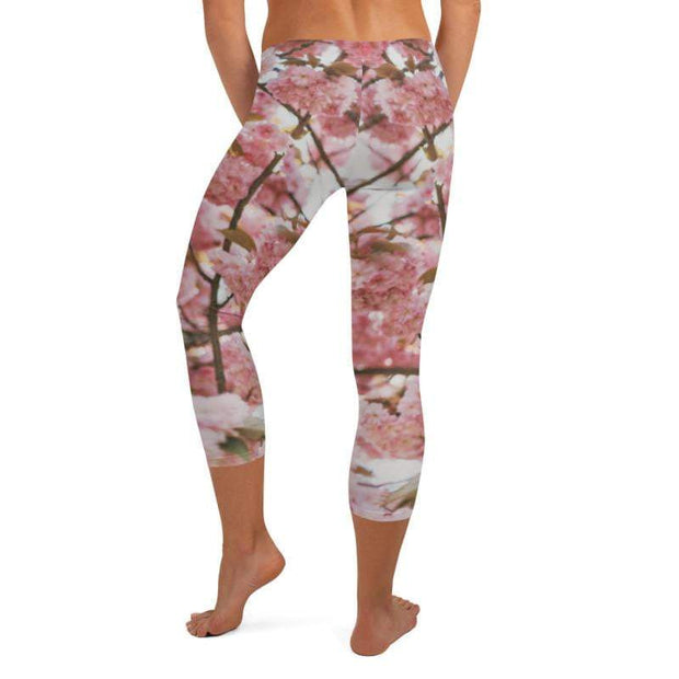 Pink Blossom Capri Leggings | Submission Shark - tamlifestyle