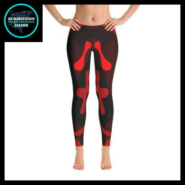 Ranked 1.0 Unisex Compression Pants (Coral Red) | Submission Shark Spats Front
