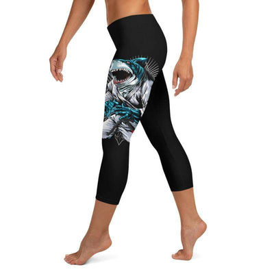 Shark Frenzy | Capri Leggings | Submission Shark - tamlifestyle