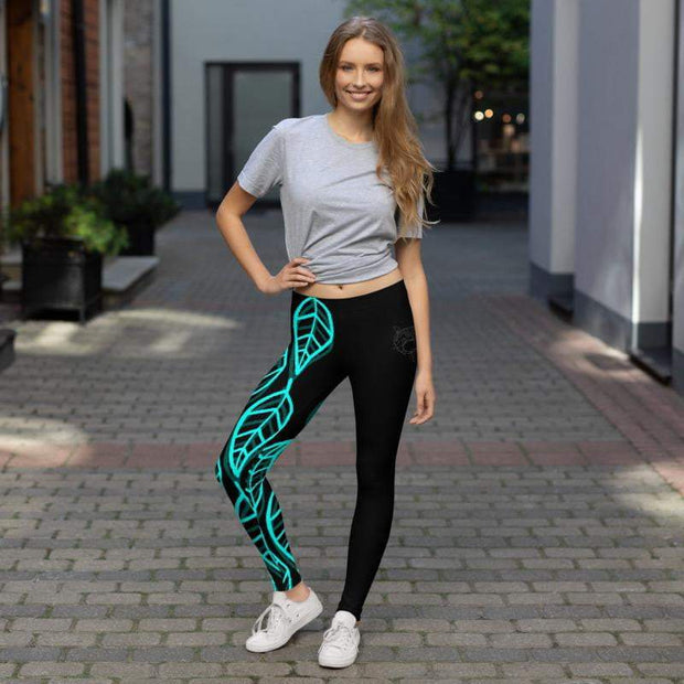 Blue Leaf Leggings | Submission Shark - tamlifestyle